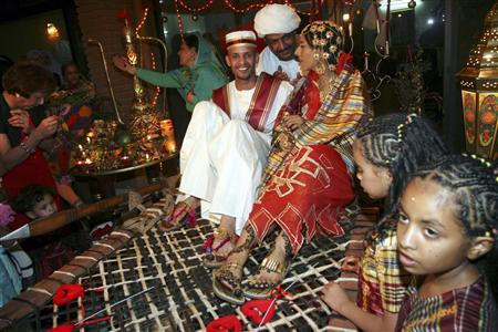 Sudanese bride and groom at the Jertik wedding ceremony. Source: Reuters
